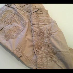 Gorgeous Stitched Khaki Capri's